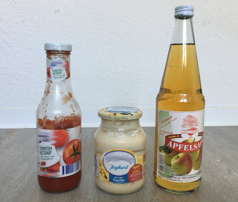 Produkte im Glas-Plastik sparen-Nachhaltigkeit im Alltag